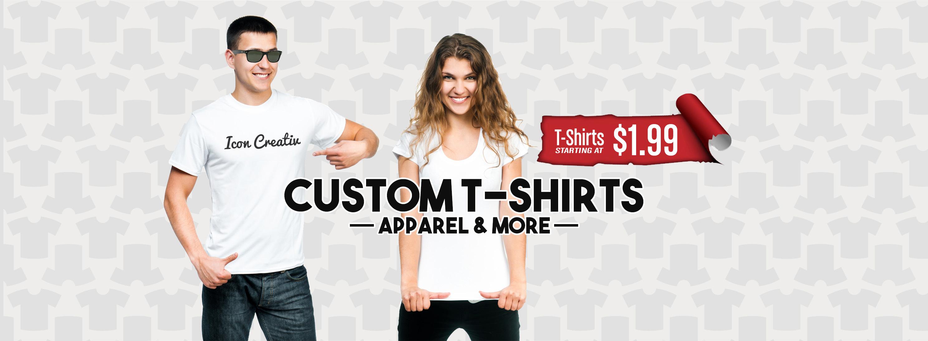 Custom t shirt printing icon creativ custom t shirts for Wholesale t shirts dallas tx