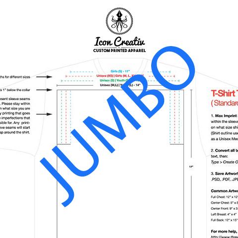 jumbo t-shirt print size template
