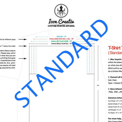 T-Shirt Print Size Templates | Group T-Shirts, Event T