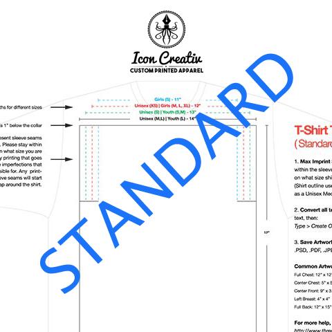 standard t-shirt print size template